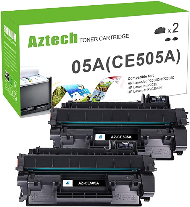 Aztech Compatible Toner Cartridge Replacement for HP 05A CE505A HP Laserjet P2035 P2035N P2055DN (Black, 2-Pack)