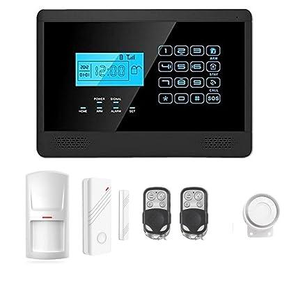 ABTO Último nuevo teclado táctil inalámbrica GSM SMS Auto marcar casa inteligente sistema de alarma de ladrón de la seguridad (Negro)