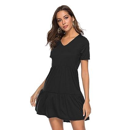df468e3903e2c Amazon.com: Trendypie Women's V Neck Short Sleeve Loose Swing Casual ...