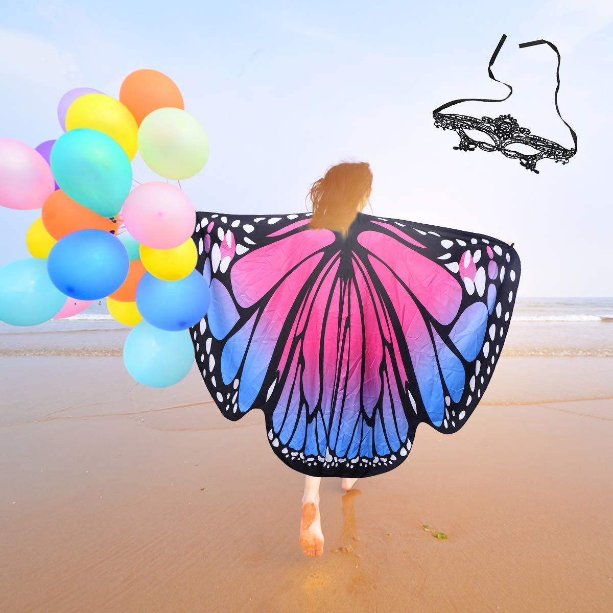 Blu Verde LIOOBO Farfalla Ali Scialle Costume con Maschera Adulti Belle Fiabe Mantelle Asciugamano da Spiaggia per Donna Ragazza