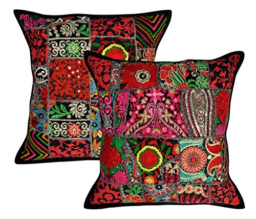 Lalhaveli Living Room Decorative Handmade Embroidery Cotton Cushion Cover 18 X 18 Inches Set of 2 Pcs
