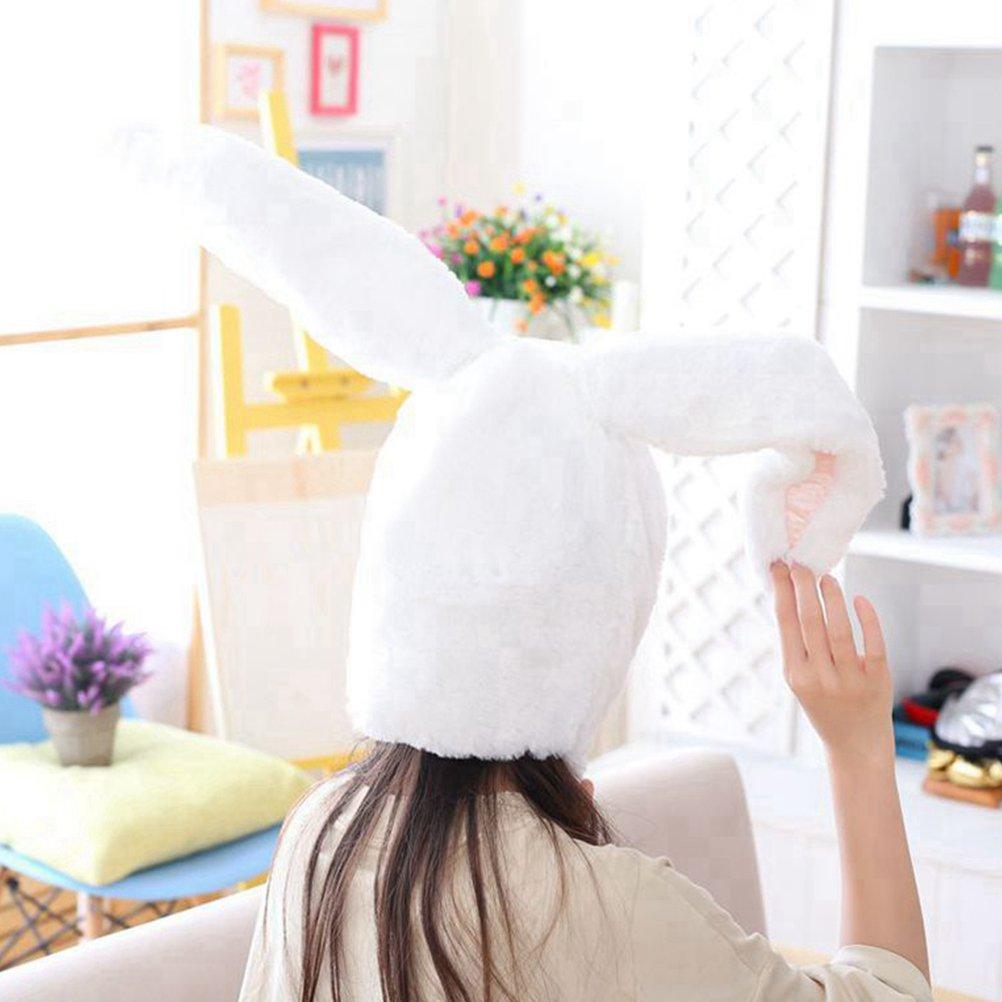 Amosfun Rabbit Headwear Cartoon Animal Hat Movable Ear Plush Cute Hat for Women Girls (White) by Amosfun (Image #6)