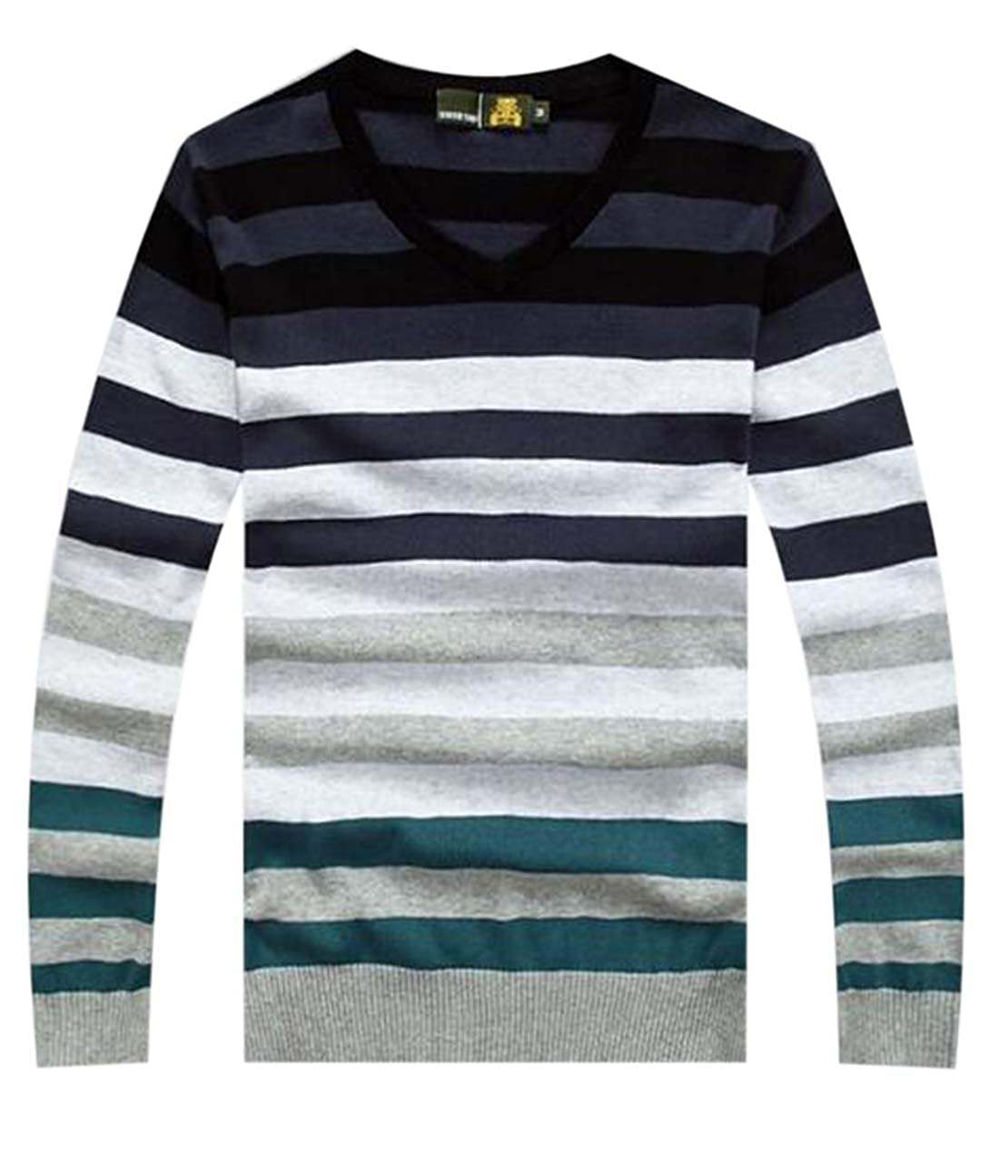 X-Future Mens Long Sleeve Knitted Cotton V Neck Striped Fashion Pullover Sweater