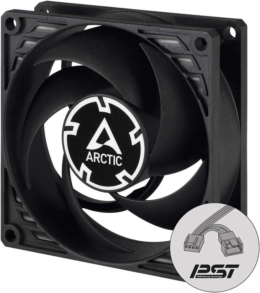 ARCTIC P8 PWM PST CO - 80 mm Ventilador de Caja para CPU con PWM Sharing Technology (PST), Motor Muy Silencioso con Funcionamiento Continuo, Computadora, 200-3000 RPM - Negro