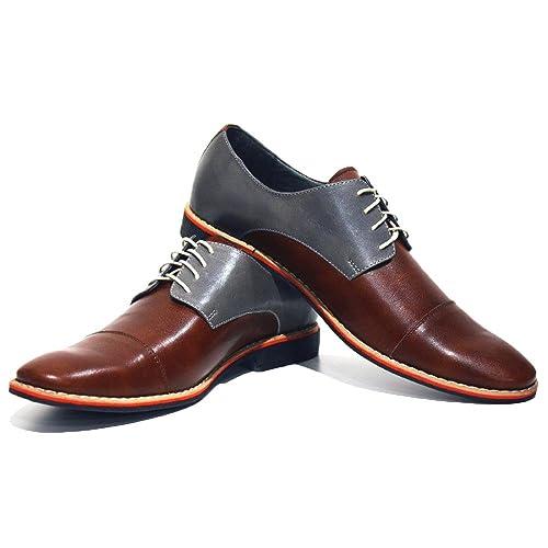 Modello Soprano - Cuero Italiano Hecho A Mano Hombre Piel Marrón Zapatos Vestir Oxfords - Cuero Cuero Suave - Encaje: Amazon.es: Zapatos y complementos