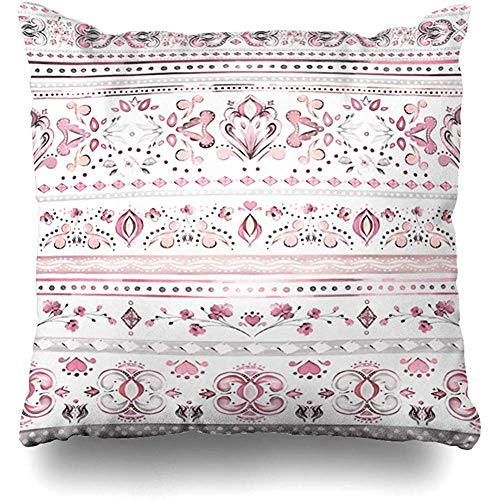 Throw Pillow Cushion Cover Case Tile Gray Bedclothes Watercolor Botanic Ethnic Abstract Pink Flower Geometrical Graphic Hippy Leaves Home Decor Design Square Size 18