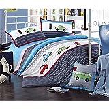 Auvoau Trucks Tractors Cars Boys 4-Piece Comforter Sheet Set,Kids Bedding Set,Blue Red, Twin Full (Queen)