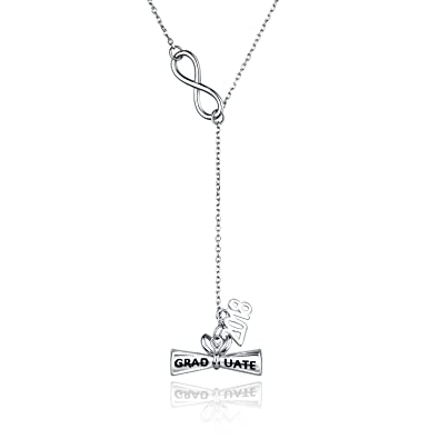 a1559ef299c7e8 Billie Bijoux 925 Sterling Silver 2018 Engraved Graduate Diploma Pendant Y  Necklace Graduation Jewelry Gift for