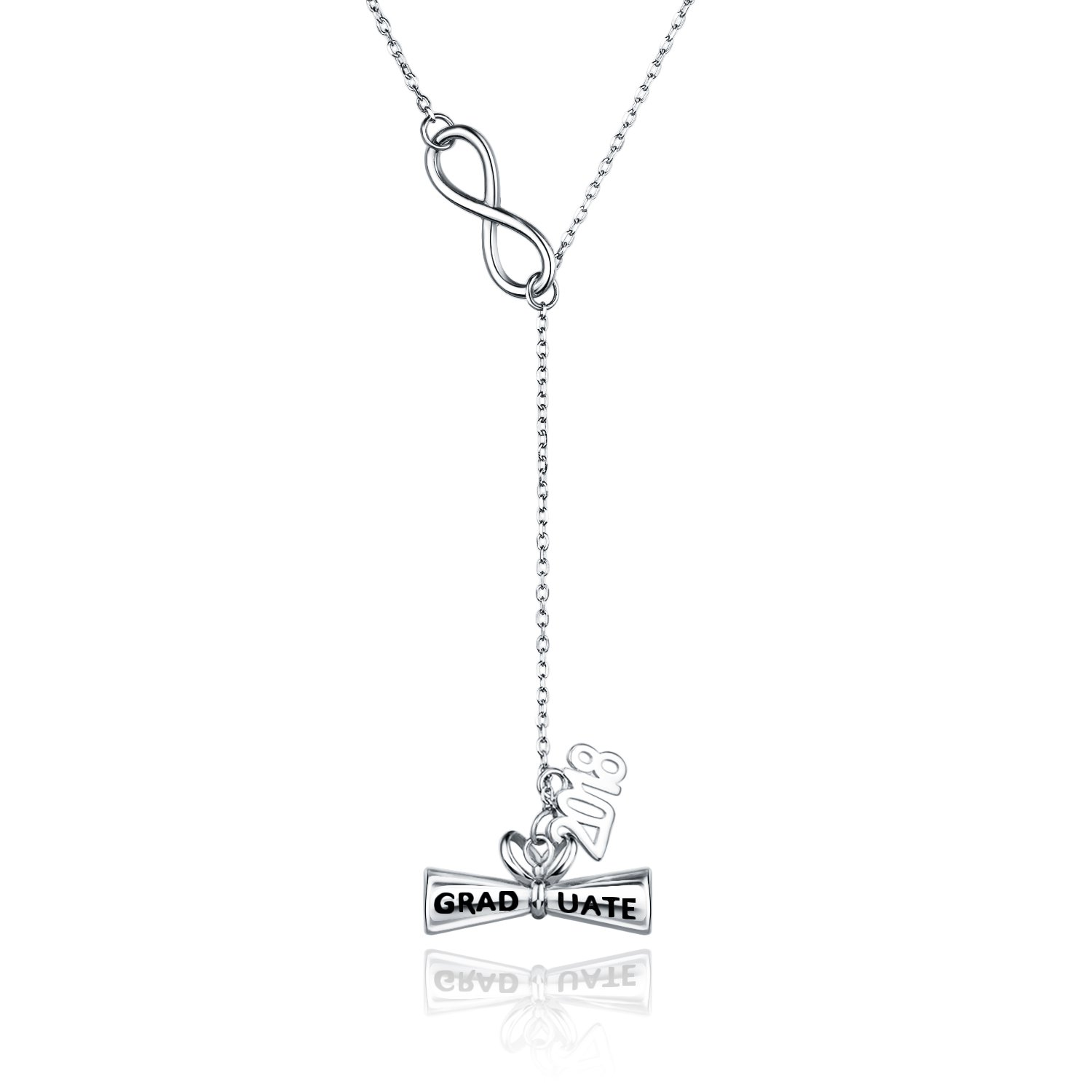 Billie Bijoux 925 Sterling Silver 2018 Engraved Graduate Diploma Pendant Y Necklace Graduation Jewelry Gift for Sister Daughter Friends Teens and Other Graduates