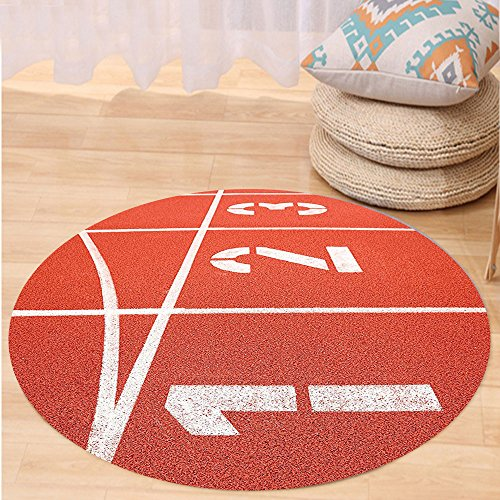 Racetrack Extension Set (VROSELV Custom carpetOlympics Decorations Collection Close Up of Numbers on Racetrack Lines Stadium Ground Determination Success Art Bedroom Living Room Dorm Coral White Round 79 inches)