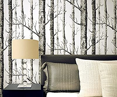 3D Birch Tree Wallpaper / Wall Decals, COUTUDI Nordic Style Non Woven Nature Forest Pattern Wall Art / Decor for Room Kitchen Home Bar TV Backdrop, 0.53x10m