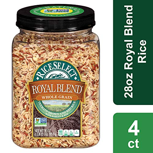 RiceSelect Royal Blend, Whole Grain Texmati Brown & Red Rice with Barley & Rye, 28-Ounce Jars (Pack of 4)