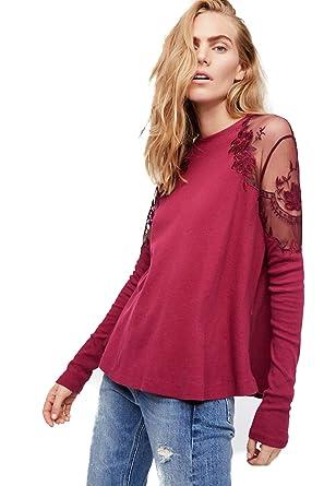 95283cddd3e9a Free People Daniella TOP Lace Embroidery (Wine) (XS) at Amazon ...