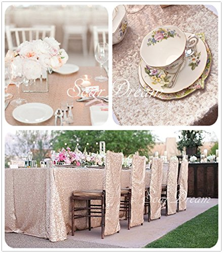 SoarDream 60x102 inch sparkly rectangle Champagne Blush cheap Sequin Tablecloth linens Glitter Table Cover for Wedding