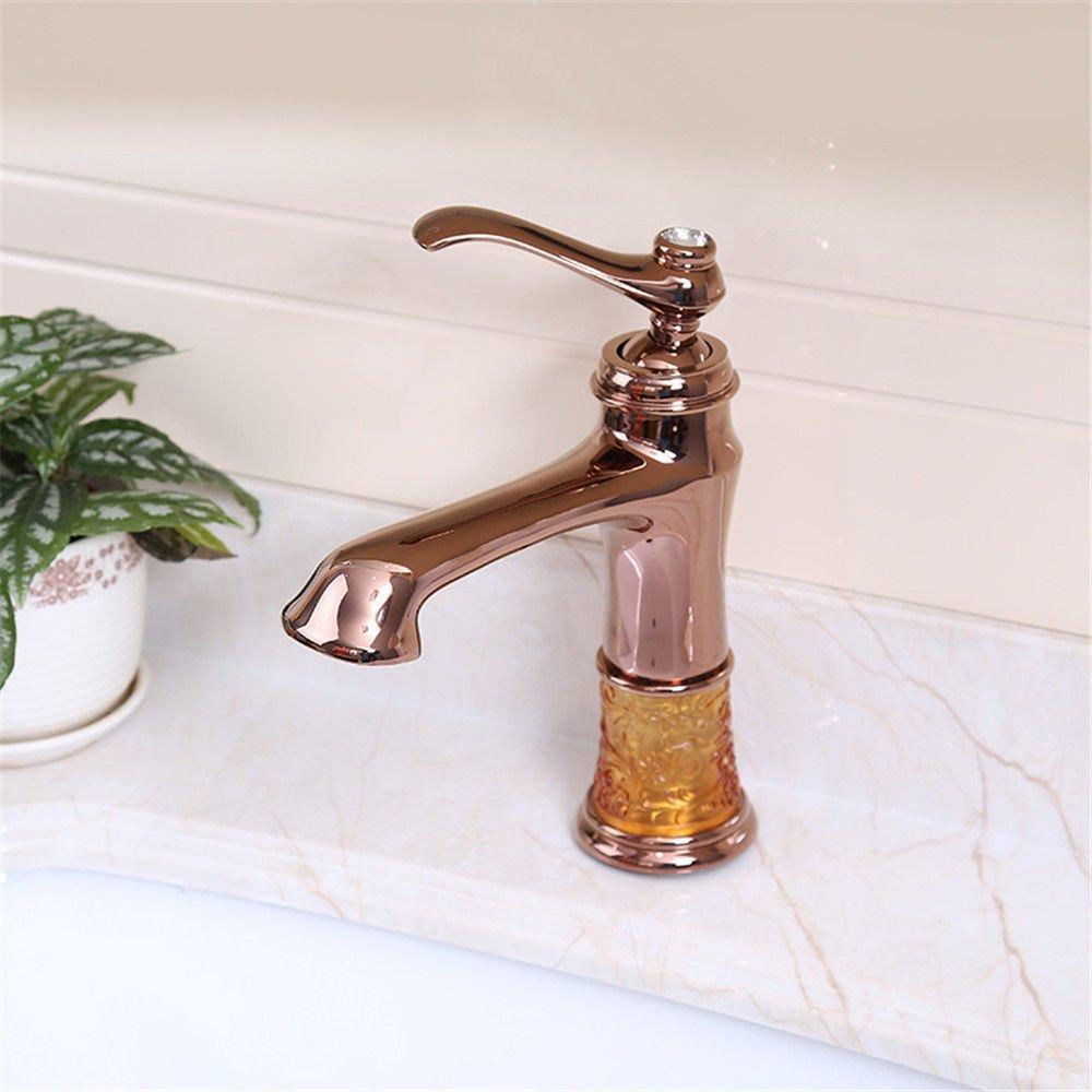 AQiMM Waschtischarmatur Wasserhahn Gold - Kupfer Antik Und Kaltes Wasser gemäßcht, Wasser-Express Zu öffnen Mischbatterie Waschbeckenarmatur Für Badezimmer Waschbecken
