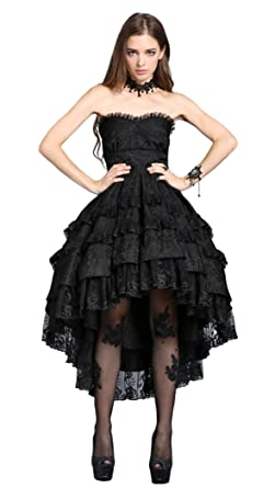 15c8641d781 Robe Bustier Noire mi Longue Bouffante Dentelle Fleurie Lolita Gothique  Vampire - S
