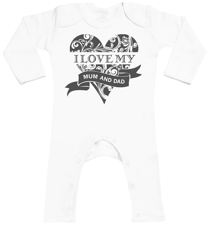 SR Baby Sleepsuit I Love My Mum and Dad Baby Footless Romper Baby Rompersuit Baby Romper Baby Jumpsuit