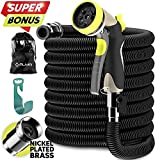 ALMA Expandable Garden Hose 50ft - Strongest Expandable Water Hose with Extra Strong Brass Connectors - Flexible Expanding Garden Hose Best for Outdoor Watering NEW 2018 Hoses - black