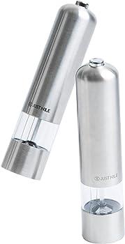 JustNile Stainless Steel Electric Salt and Pepper Grinder Set