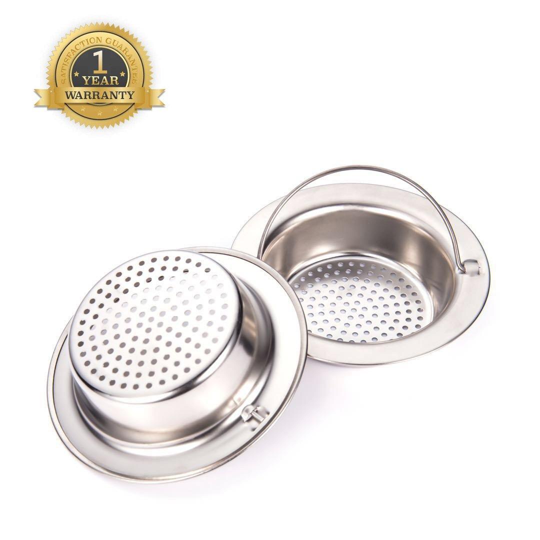"Stainless Steel Kitchen Sink Strainer, Large Wide Rim 4.3"" Diameter (Hand-held)set of 2"