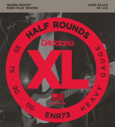 D'Addario ENR73 Half Round Bass Guitar Strings, Heavy, 55-110, Long -