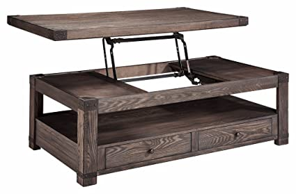 Signature Design By Ashley T846 9 Rectangular Cocktail Table, Washed Gray  Brown Finish