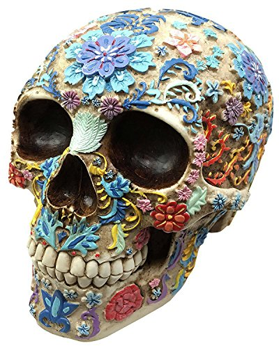 Gothic Day Of The Dead Flora And Fauna Flower Skull (Hand Painted Paperweight)