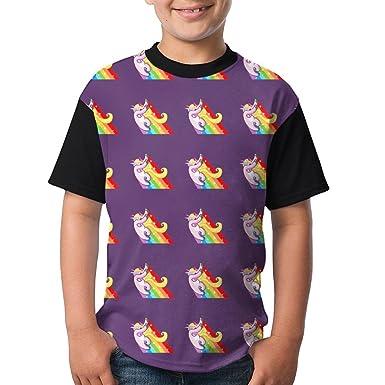 a0e6b19ea4c9 Dabbing Rainbow Unicorn Kids Casual Shirts 3D Printed Tee Crew Tops X-Small