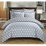 Chic Home 3-Piece Elizabeth Geometric Diamond Printed Reversible, King, Grey