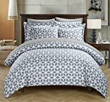 Save on Chic Home Elizabeth 3 Piece Reversible Duvet Cover Set Geometric Diamond Print Design Bedding Zipper Closure - Decorative Pillow Shams Included, King Navy and more