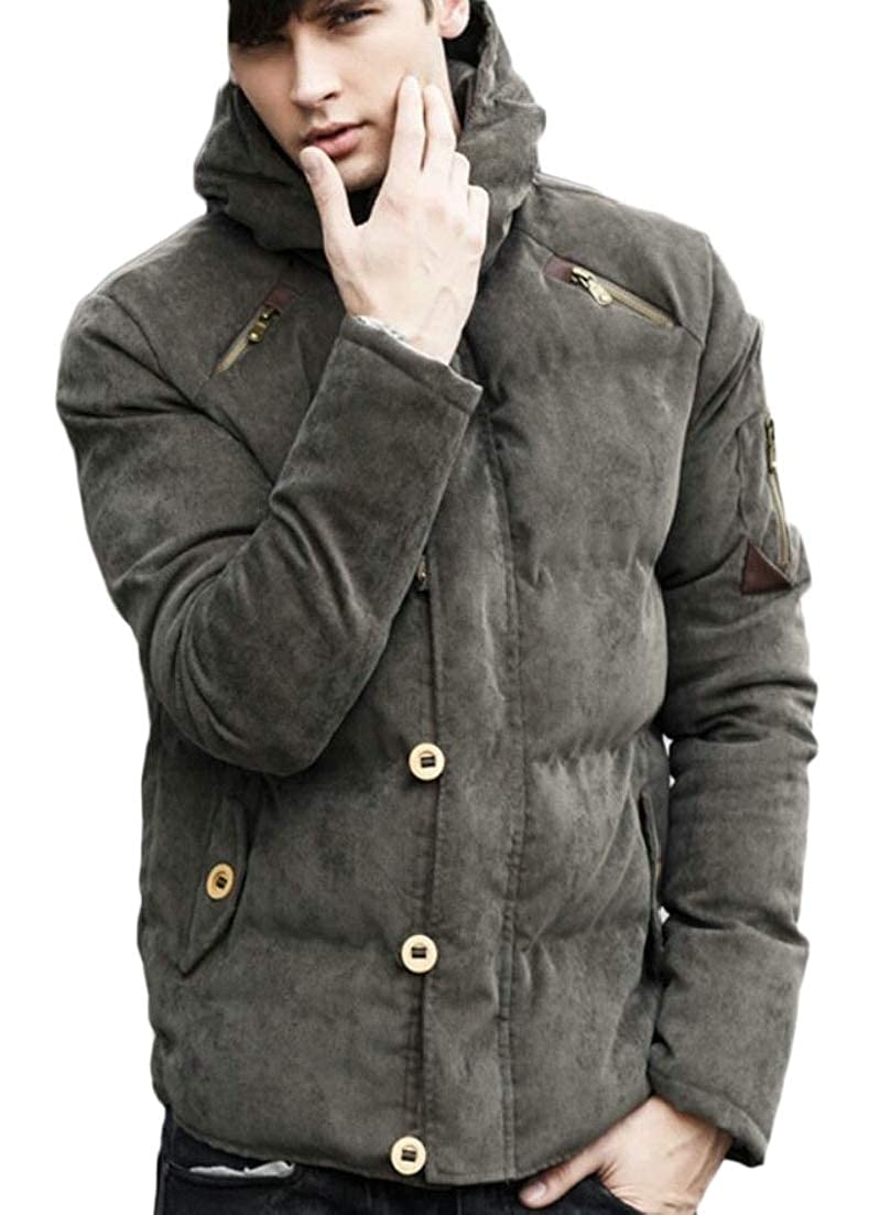 Alion Mens Thicken Casual Slim Quilted Warm with Hood Corduroy Down Jacket Coat