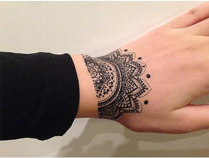 Tatuajes temporales con rosetón de mandalas y flores de loto, para ...