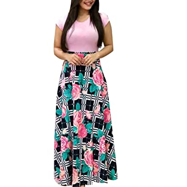 0b9dd714e1 Amazon.com: POTO Women Dresses Summer Ladies Floral Printed Long Maxi Dress  Short Sleeve Evening Party Dress Beach Dress Sundress: Clothing