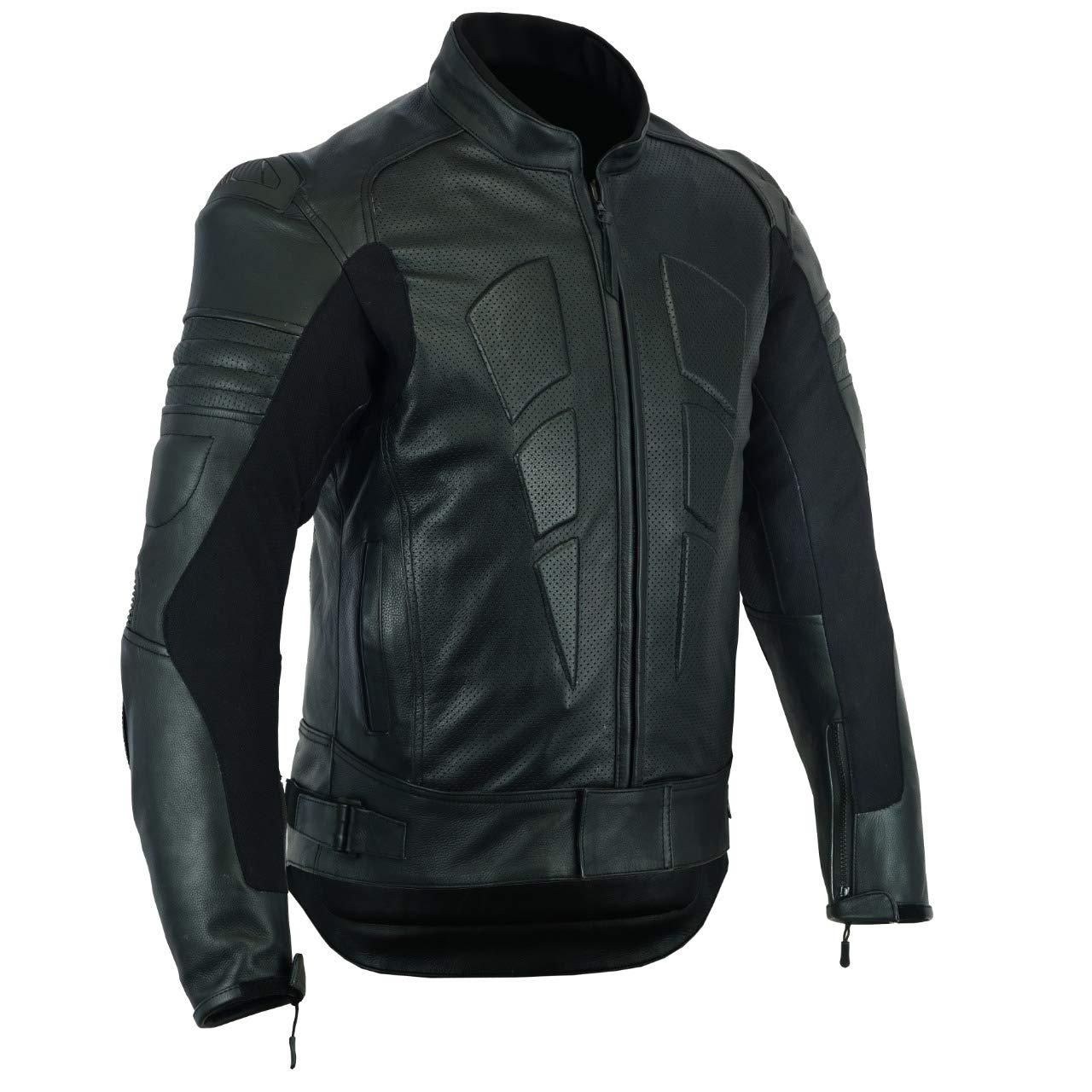 FULL GRAIN XL ARMORED PERFORATED BLACK WITH EXTERNAL ARMOR MBJ-1728A Men,s MOTORCYCLE BIKER ARMORED RACER JACKET LEATHER