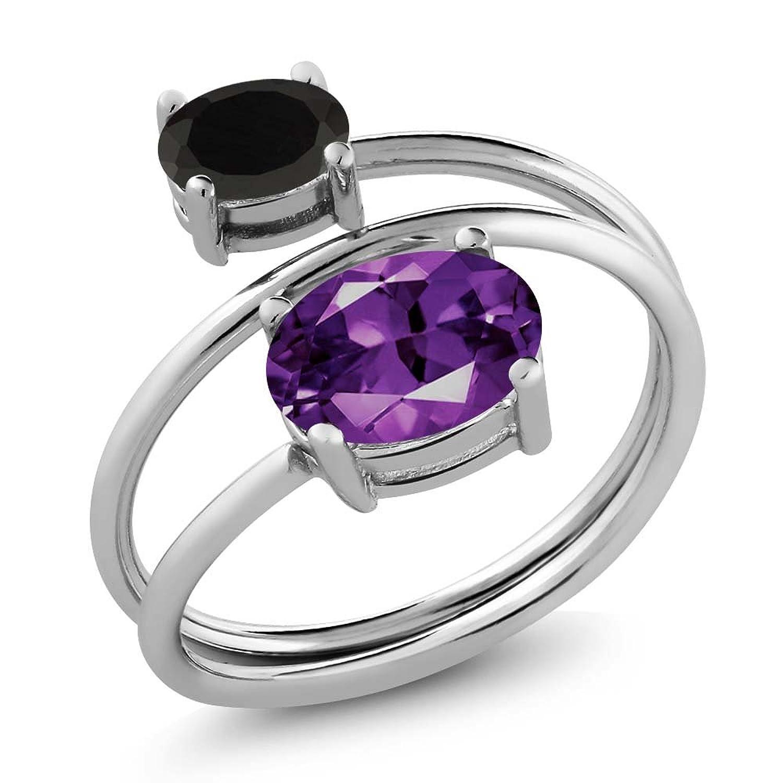 1.78 Ct Oval Purple Amethyst Black Onyx 925 Sterling Silver Open Ring