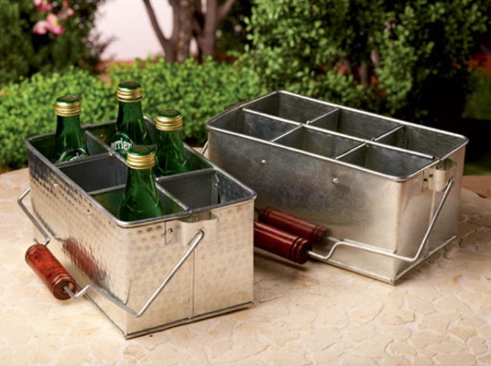 Galvanized Tin Picnic Utensil Caddy, Kitchen Organizer or Classroom Caddy - Assorted, 1 Per Order by India Handicrafts