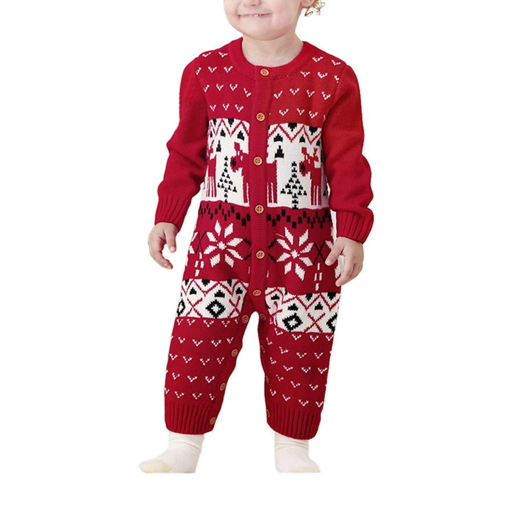 Xshuai ® Infant Baby Boy Girl Clothes Long Sleeve Deer Christmas Knitted Pjs Romper Jumpsuit Outfits Size UK 6-24 Months