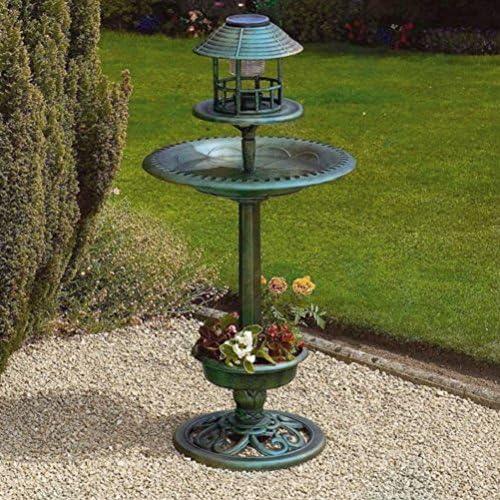 Verde Aves Alimentador Hotel y estación de mesa decorativa de baño con luz solar Jardín/jardinería