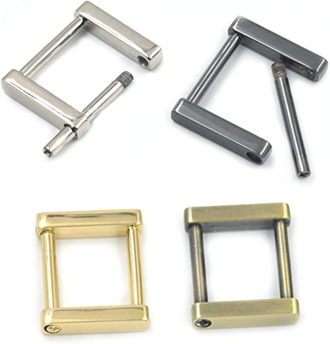 Bobeey 4pcs Rectangular Buckles For purses making,SCREW Rings Buckles Strap Connector Purse Hardware Bag Loop BBC7 1/'/', Light Gold
