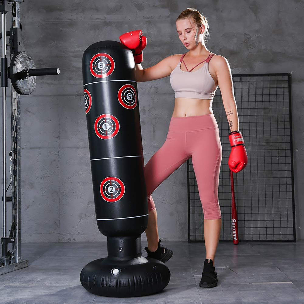 NA Inflatable Boxing Bags Fitness Punch Bag Free Standing Boxing Column Training Kick Target Bags Free-tanding at Home Gym for Adults Kids