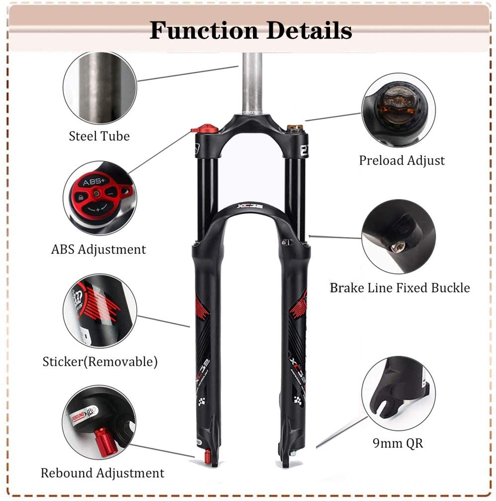 "US BUCKLOS 27.5//29/"" MTB Bike Rebound Air Suspension Fork 9mmQR MTB Bike Air Fork"