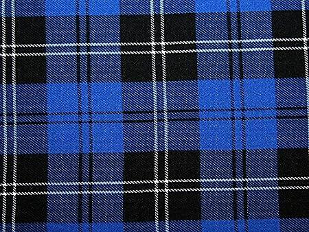 Royal Blue Per Metre Grey /& Black Poly-Viscose Tartan Yellow Grid Fabric