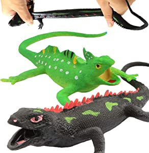 Lizards Toys,Food Grade Material TPR Super Stretchy,9-inch Rubber Lizard Figure Realistic Set(2 Packs) for Party Favors Boys Kids Learning Study-Bathtub Toy-Gecko Iguana