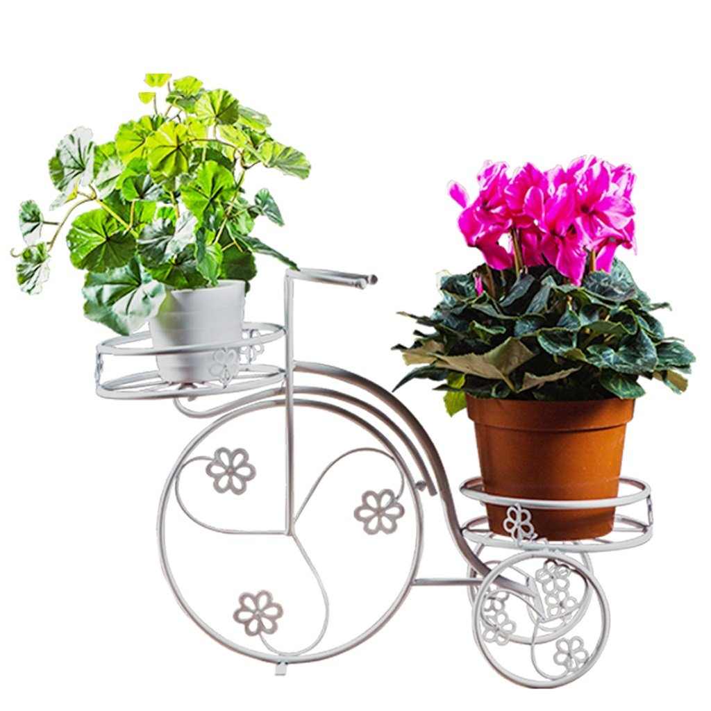 CSQ Creative Wrought Iron Flower Stand, Tricycle Double Layer Plant Stand White Desktop Bedroom Living Room Restaurant Decoration Potted Plants Flower Shelf