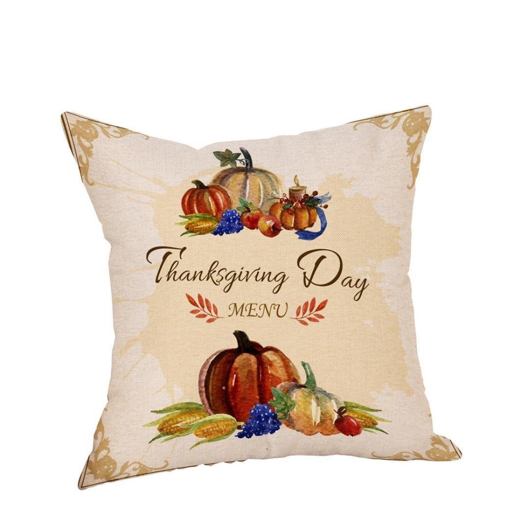 45*45cm Pillow Case, HUHU833 Happy Thanksgiving Linen Sofa Cushion Cover Home Decor (Beige)