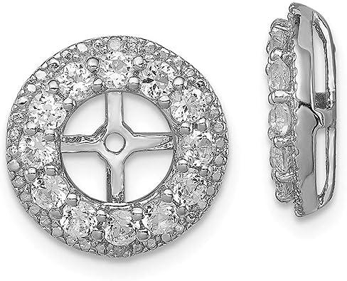 FB Jewels Solid Sterling Silver Rhodium Diamond /& Peridot Earring Jacket