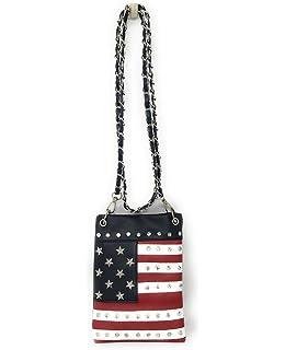 Distressed Vintage Layered Fringe American Flag Crossbody