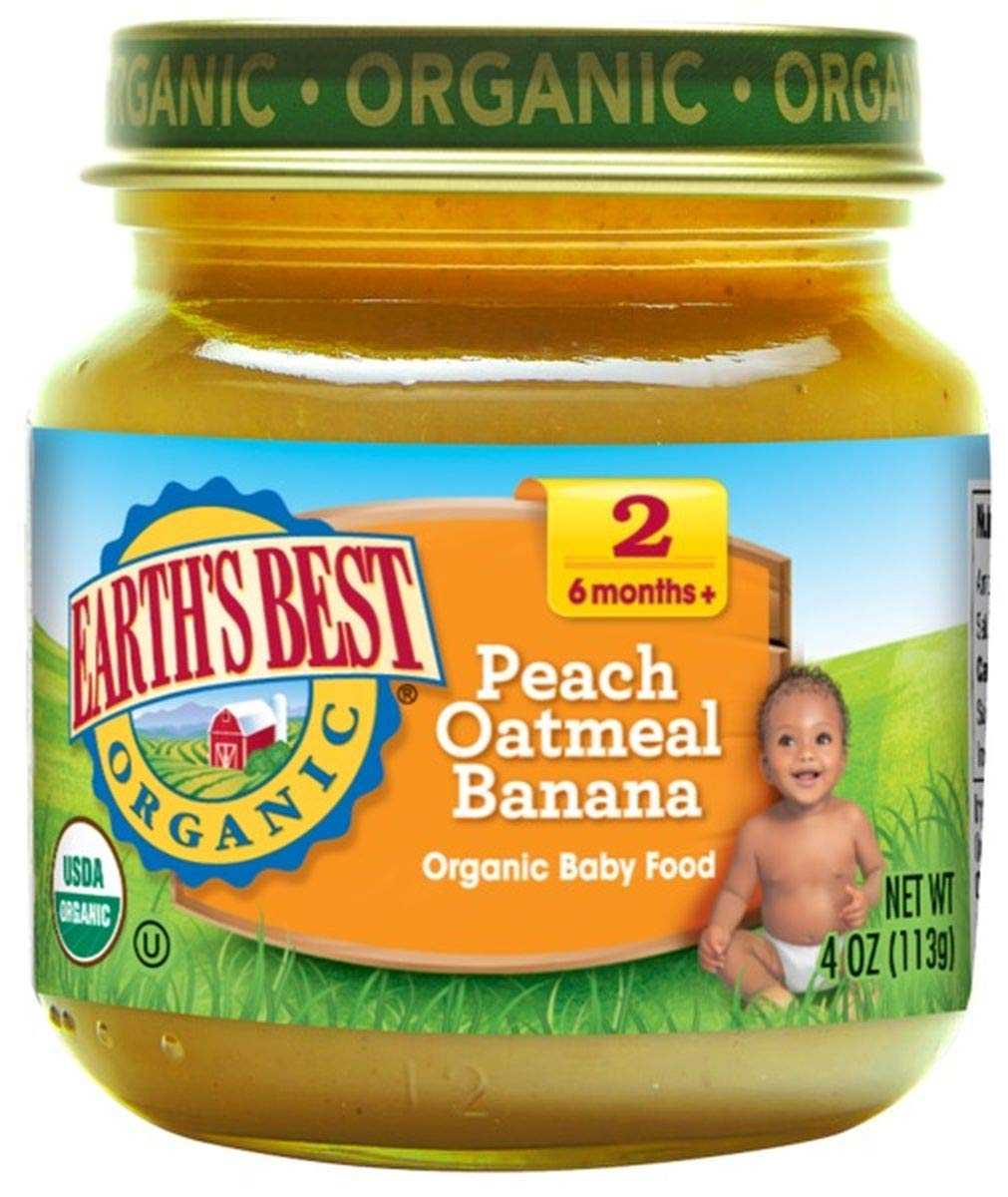 Earth's Best Organic Peach Bananas Oatmeal Baby Food (12x4oz) ( Value Bulk Multi-pack) by Earths Best (Image #1)
