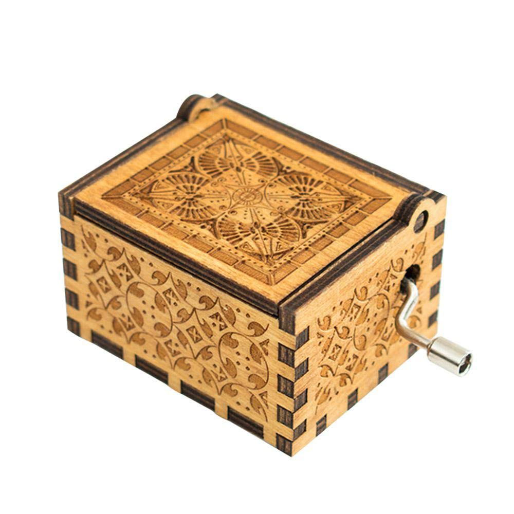3 Colors Womdee Hedwigs Theme Harry Potter Music Box Xmas Gift Hand Crank Classic Antique Carved Wooden Music Box for Birthdays
