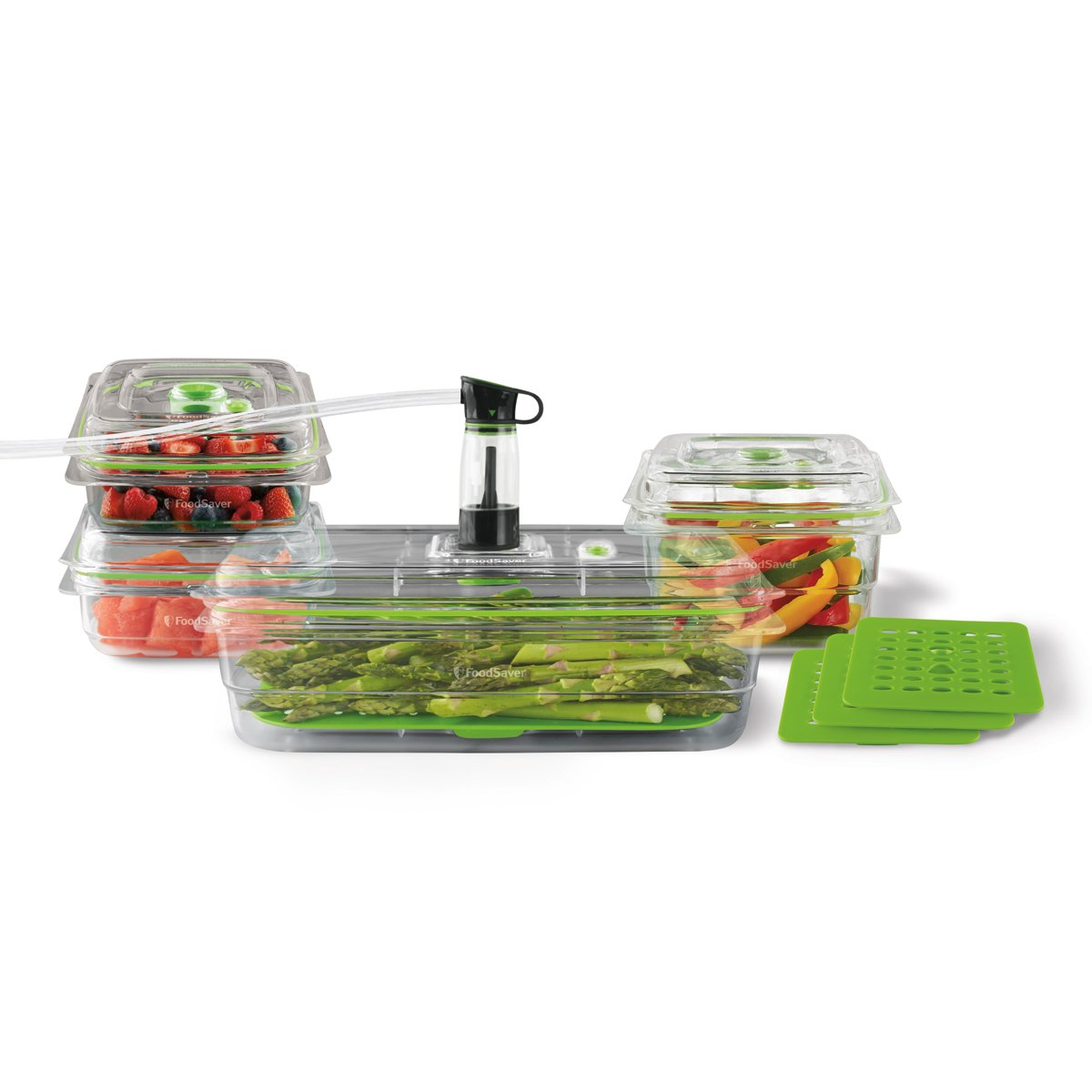 FoodSaver Vacuum Sealed Fresh Containers,4-Piece Bundle Plus 4 Trays, Clear, Crack/Shatter/Odor/Stain Resistant, BPA Free FA4SC33510T4-033